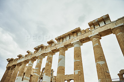 Buy stock photo Cropped shot of ancient Greek architecture while sight-seeing in Athens during the day