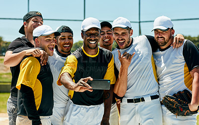 Buy stock photo Cropped shot of a team of young baseball players staking a selfie together while standing on the field during the day