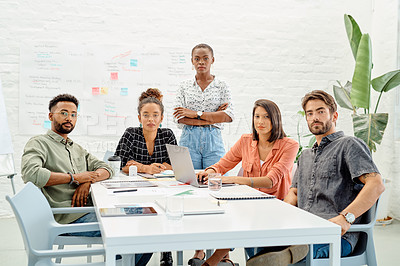 Buy stock photo Portrait of a group of businesspeople having a meeting in an office