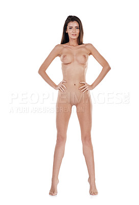 Buy stock photo Studio portrait of a sexy young woman standing nude against a white background