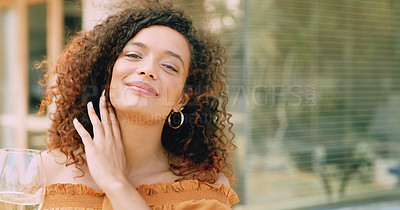 Buy stock photo Portrait of a beautiful young woman relaxing in her backyard at home