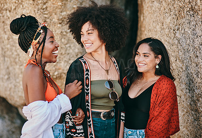 Buy stock photo Shot of three beautiful young women spending the day together