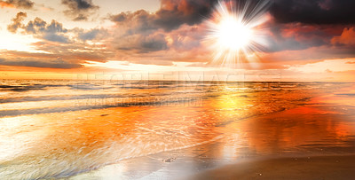 Buy stock photo a photo of dramatic ocean sunset