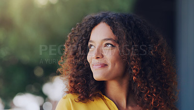 Buy stock photo Cropped shot of a beautiful young woman standing outdoors