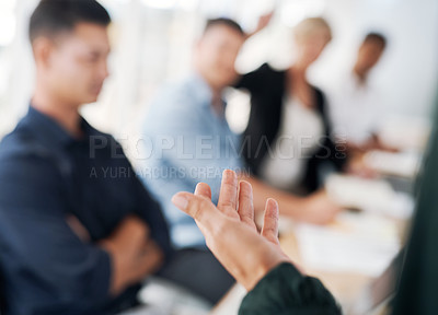 Buy stock photo Cropped shot of a businesswoman delivering a presentation in a modern office