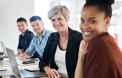 Buy stock photo Portrait of a group of businesspeople having a meeting in a modern office