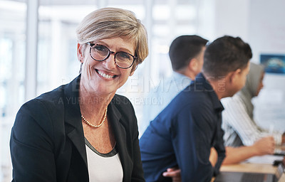 Buy stock photo Portrait of a mature businesswoman having a meeting with colleagues in a modern office