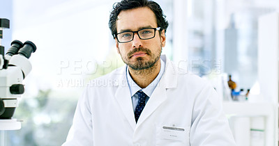 Buy stock photo Portrait of a young scientist working in a lab