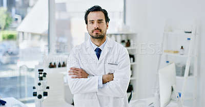 Buy stock photo Cropped shot of a male scientist working in his lab
