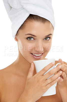 Buy stock photo Portrait of an attractive young woman drinking coffee with a towel wrapped around her head
