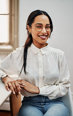Buy stock photo Portrait of a young businesswoman having a meeting in a modern office
