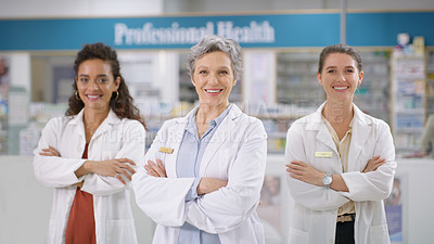 Buy stock photo Portrait of a group of confident pharmacists working in a chemist