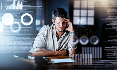 Buy stock photo Shot of a programmer looking stressed out while working on a computer code at night