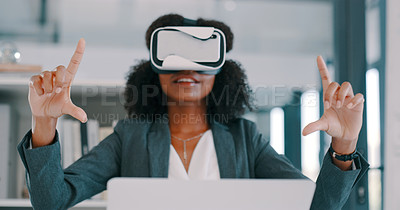 Buy stock photo Shot of a young businesswoman using a virtual reality headset and laptop in a modern office