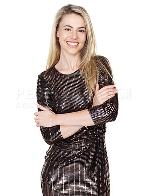 Buy stock photo Studio shot of a beautiful young woman wearing a party dress while posing against a white background