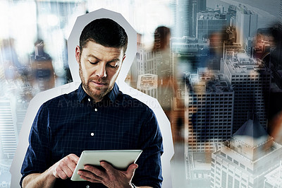 Buy stock photo Shot of a young businessman using a digital tablet superimposed on a city background