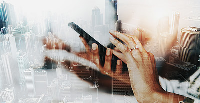 Buy stock photo Superimposed shot of an unrecognisable businesswoman using a cellphone in an office