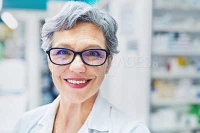 Buy stock photo Portrait of a confident mature woman working in a pharmacy