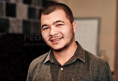 Buy stock photo Portrait of a young man at home