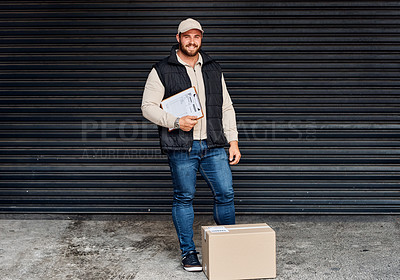 Buy stock photo Portrait of a courier holding a clipboard
