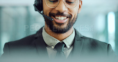 Buy stock photo Cropped shot of a young man using a headset in a modern office