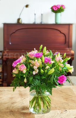 Buy stock photo Bouquet in font of piano