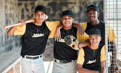 Buy stock photo Portrait of a group of young baseball players standing together in the dugout