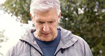 Buy stock photo Shot of a senior man going for a run in the park