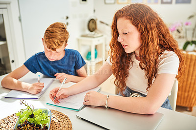 Buy stock photo Shot of a teenage brother and sister doing their homework together at home