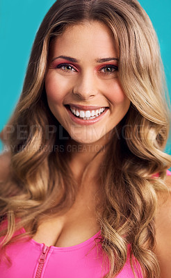 Buy stock photo Cropped studio shot of a beautiful young woman wearing a 80s outfit