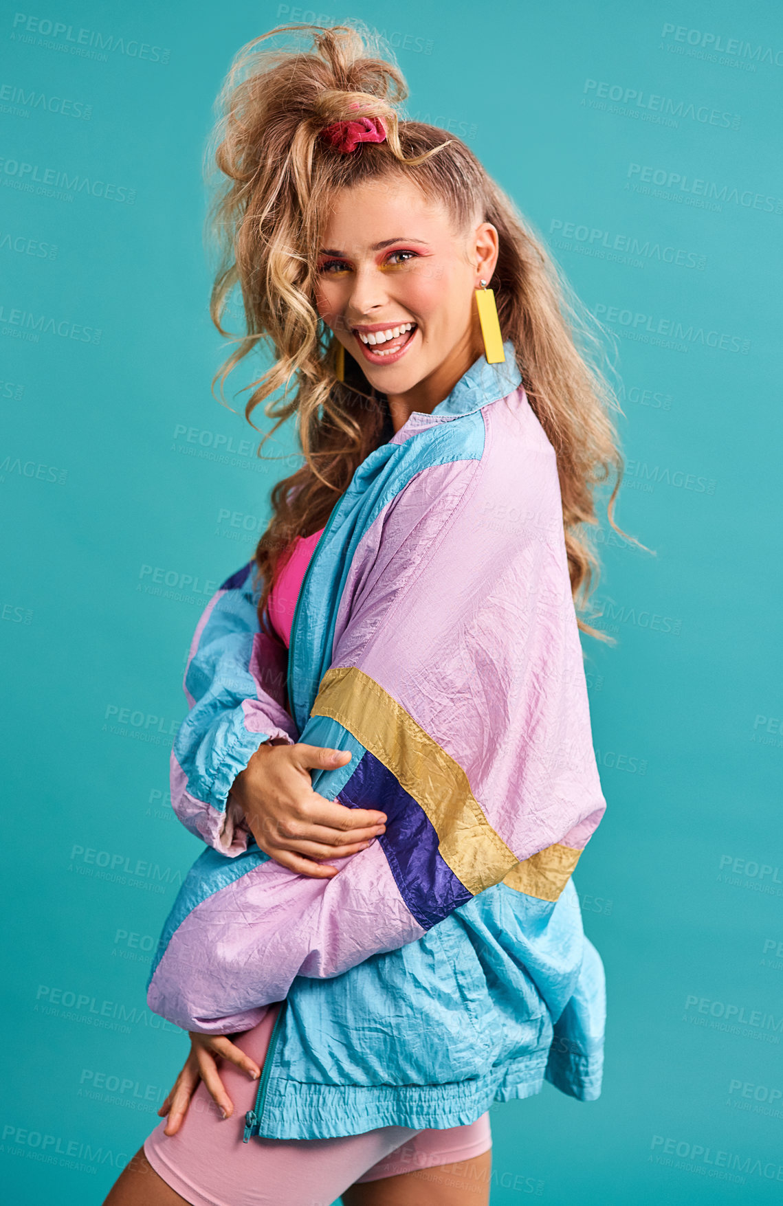 Buy stock photo Studio shot of a beautiful young woman wearing a 80s outfit