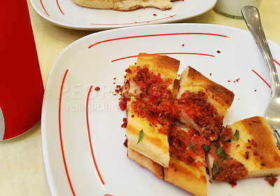 Buy stock photo Shot of freshly made Istanbul pide served on a plate in a restaurant