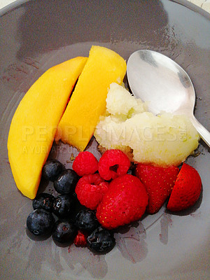 Buy stock photo Shot of sorbet served with fresh fruit in a bowl