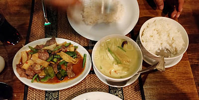 Buy stock photo Shot of a stir fried meal served with rice and soup at an Asian restaurant