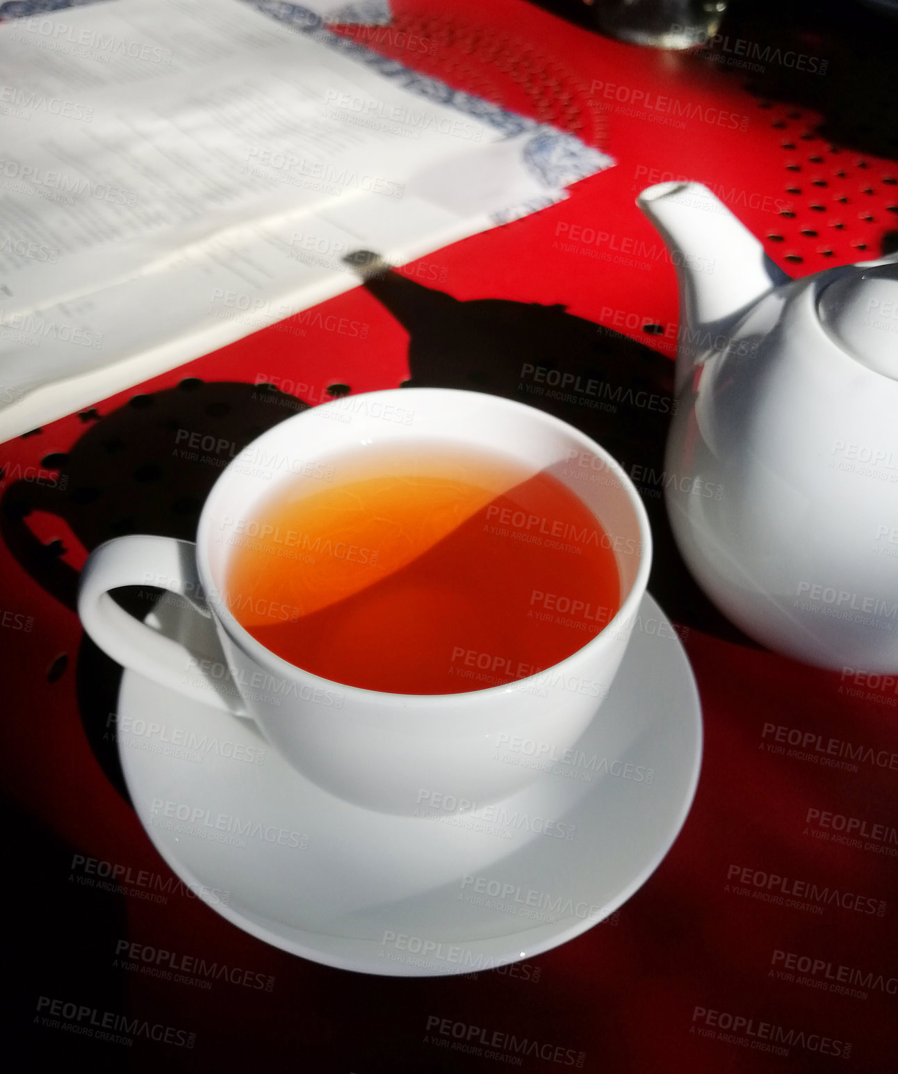 Buy stock photo Shot of a cup of freshly made tea on a table
