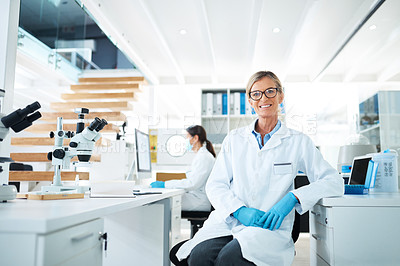 Buy stock photo Portrait of a mature scientist working in a lab with her colleague in the background