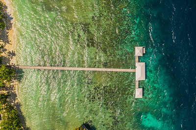 Buy stock photo High angle shot of a pier somewhere on the Islands of Raja Ampat, Indonesia