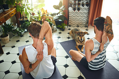 Buy stock photo Shot of two men going through a yoga routine at home while their dog watches
