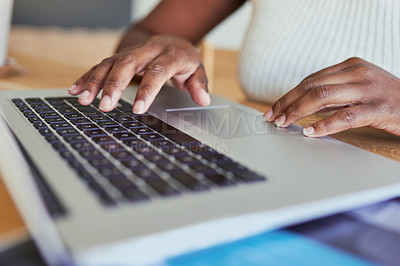 Buy stock photo Closeup shot of an unrecognisable woman using a laptop