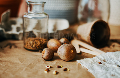 Buy stock photo Shot of various seeds sprouting on a table at home