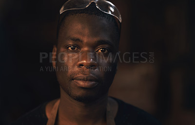 Buy stock photo Portrait of a confident young man working at a foundry