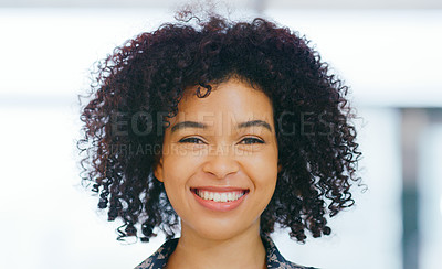 Buy stock photo Portrait of a cheerful young woman