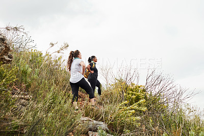 Buy stock photo Shot of two young women admiring the view while out hiking in nature