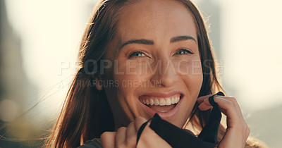 Buy stock photo Portrait of a woman looking happy while standing outside with a cloth mask