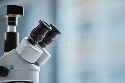 Buy stock photo Shot of a microscope in a modern laboratory