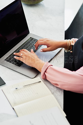Buy stock photo Closeup shot of a pregnant woman using a laptop while working from home
