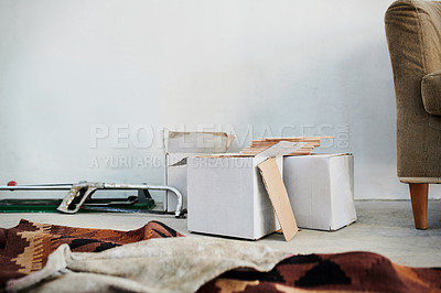Buy stock photo Shot of a box of tiles in an empty home that's being renovated