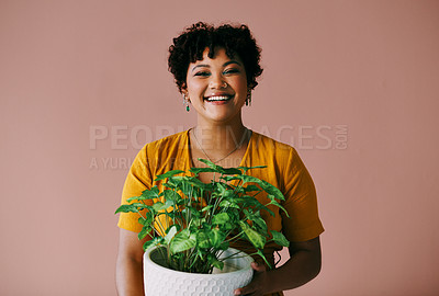 Buy stock photo Portrait of a young woman holding a plant against a brown background
