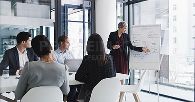 Buy stock photo Shot of a mature businesswoman giving a presentation to her colleagues in a boardroom