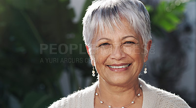 Buy stock photo Portrait of a confident senior woman enjoying time in a garden